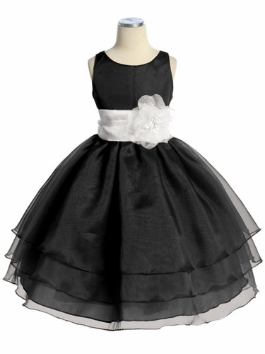 Black Three Layer Organza Dress