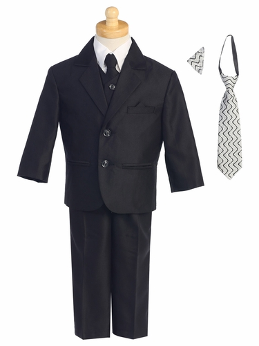 Black Two-Button Herringbone Pattern Suit
