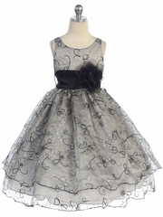 Black Two Layer Embroidered Organza Dress