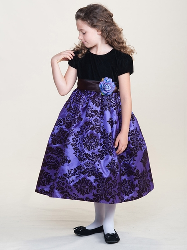 Black Velvet Damask Purple Dress