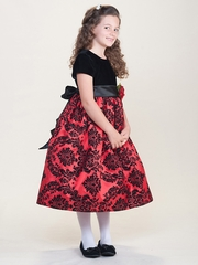 Black Velvet Damask Red Dress