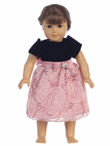 "Black Velvet & Dusty Rose Corded 18"" Doll Dress"