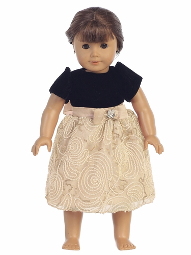 "Black Velvet & Gold Corded 18"" Doll Dress"