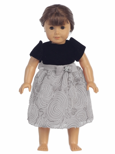 "Black Velvet & Silver Corded Mesh 18"" Doll Dress"