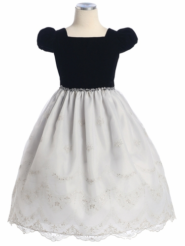 Black Velvet Top w/Grey Embroidered Organza Skirt