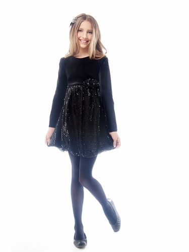 Black Velvet Top with Sparkling Skirt