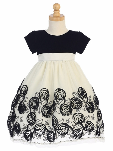 Swea Pea & Lilli Black Velvet & Tulle Dress W/ Floral Satin Ribbon