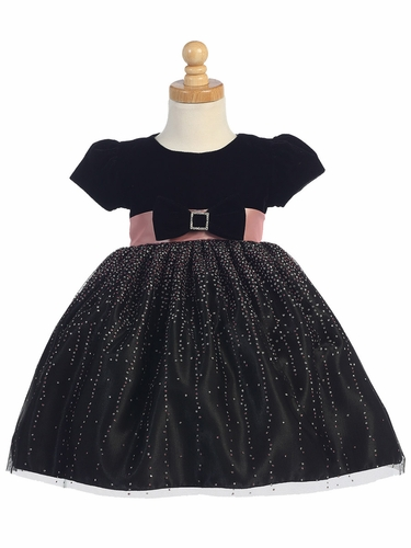 Black Velvet w/ Black Sparkling Tulle Dress