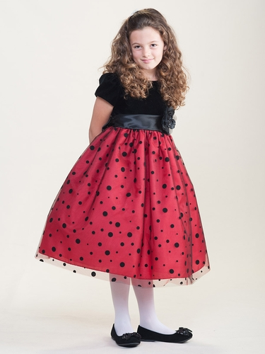 Black Velvet w/ Polka Dot Red Skirt Dress