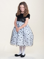 Black Velvet w/ Polka Dot White Skirt Dress