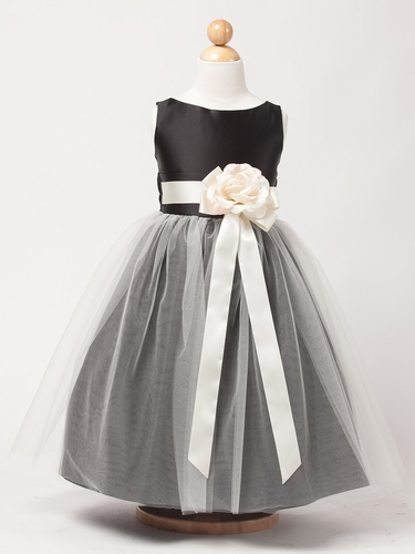 Black Vintage Satin Tulle Dress