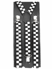 Black & White Checkered Kid Suspenders