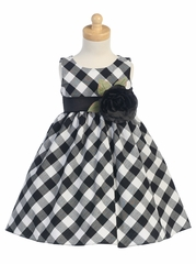Black/White Cotton Gingham Checked Dress