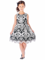 Black & White Damask Pattern Embroidered Mesh Dress