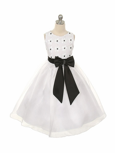 Black & White Floral Lace Top w/ Matching Sash & Organza Skirt