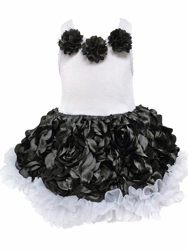 Black & White Rosette Tutu Dress
