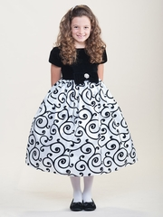 Black & White Velvet Flocked Holiday Dress w/ Festive Swirls