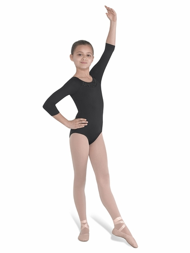 Bloch Beaded Neckline ¾ Sleeve Leotard