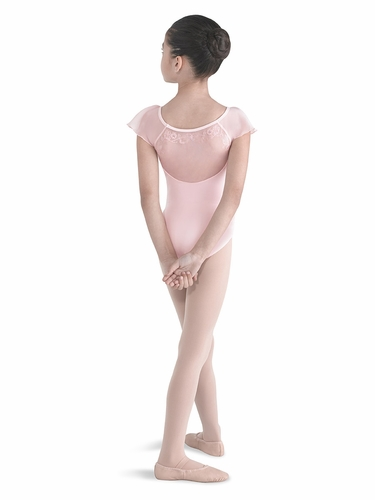 Bloch Candy Pink Embroidered Back Panel Leotard