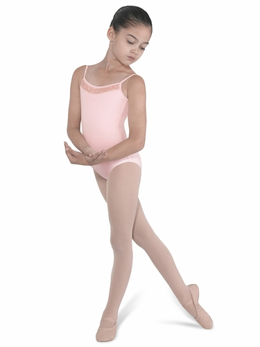 Bloch Pink Beaded Front Neckline w/ Shaped Back Leotard