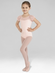 Bloch Pink Spot Tulle Puff Sleeve Leotard