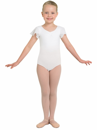 Bloch White Tank Leotard w/ Georgette Sequin Sleeves