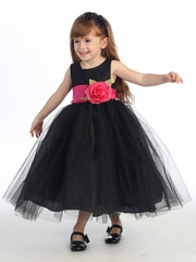 Blossom Black Poly Silk Bodice & Tulle Skirt Dress w/ Detachable Flower & Sash