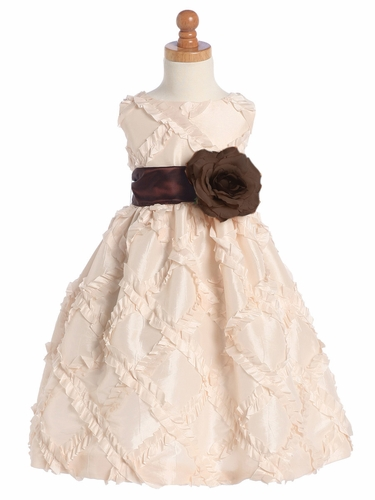 Blossom Blush Pink Sleeveless Taffeta Ribbon Dress w/ Detachable Sash & Flower