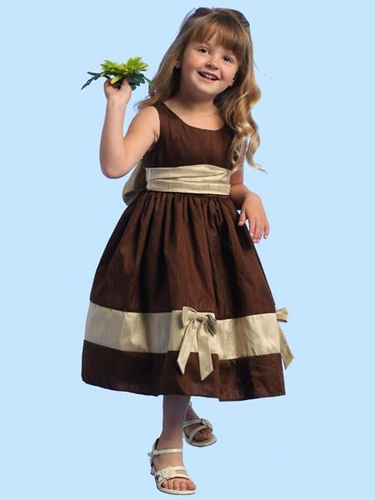 Blossom Brown Silk Dress w/ Bow Tie Accents