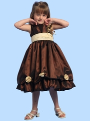 Blossom Brown Sleeveless Taffeta Dress w/ Detachable Flowers and Sash