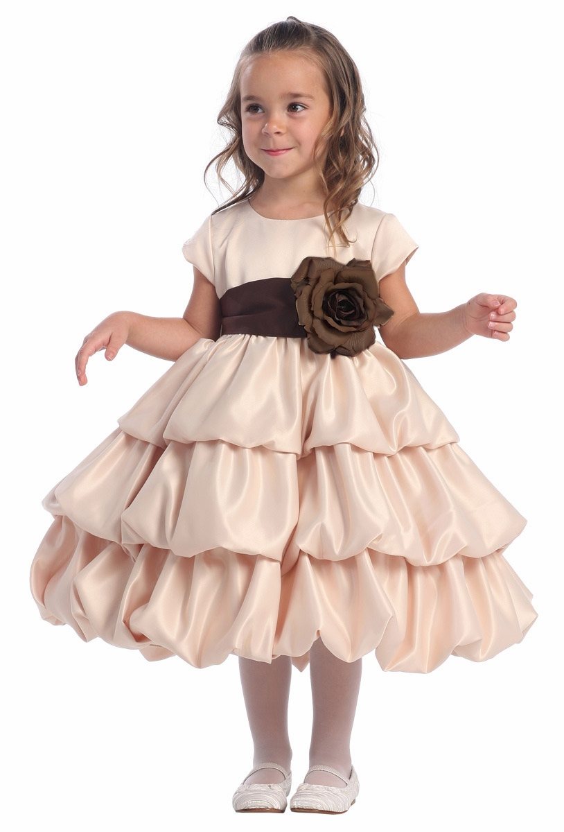 6b3d2c4bdcb ... Layer Satin Bubble Dress w  Detachable Sash   Flower. Click to Enlarge  ...