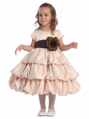 Blossom Champagne Three Layer Satin Bubble Dress w/ Detachable Sash & Flower