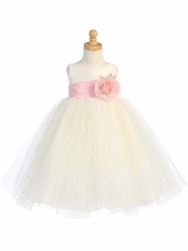 Blossom Ivory Poly Silk Bodice & Tulle Skirt Dress w/ Detachable Flower & Sash