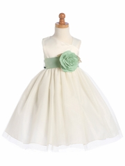 Blossom Ivory Satin Bodice & Tulle Skirt w/ Detachable Sash & Flower