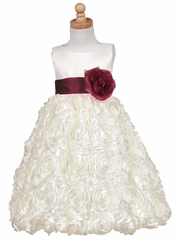 Blossom Ivory Satin Bodice w/ Floral Ribboned Skirt & Detachable Sash & Flower