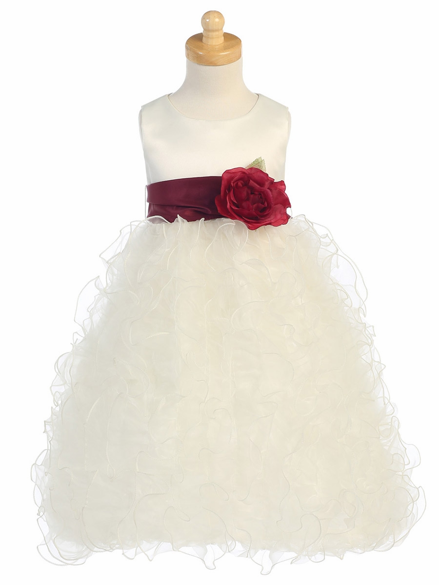 Ruffled Organza Skirt With Embroidered And Beaded Bodice: Blossom Ivory Satin Bodice W/ Ruffled Organza Skirt