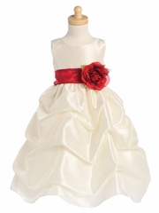 Blossom Ivory Sleeveless Gathered Taffeta Dress w/ Detachable Sash