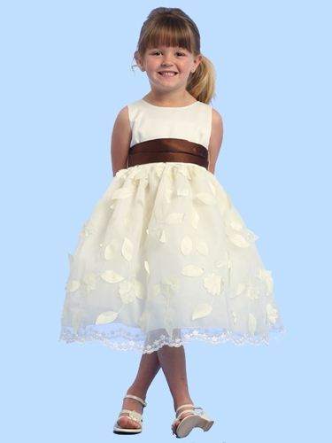 Blossom Ivory Sleeveless Satin Bodice w/ Pop Up Satin Flowers