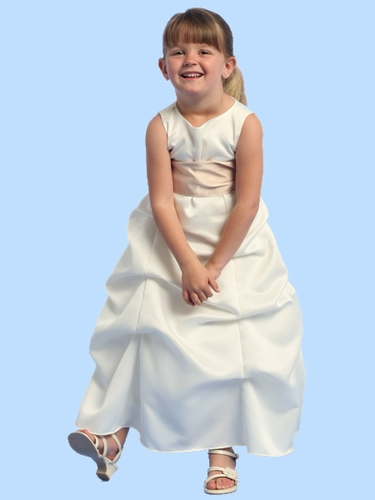 Blossom Ivory Sleeveless Satin Gathered A-Line Dress w/Detachable Sash