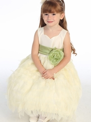 Blossom Ivory Taffeta Bodice Dress w/ Chiffon Leaves Skirt & Detachable Sash & Flower
