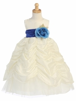 Blossom Ivory Taffeta Dress w/ Shirred Skirt and Detachable Sash & Flower