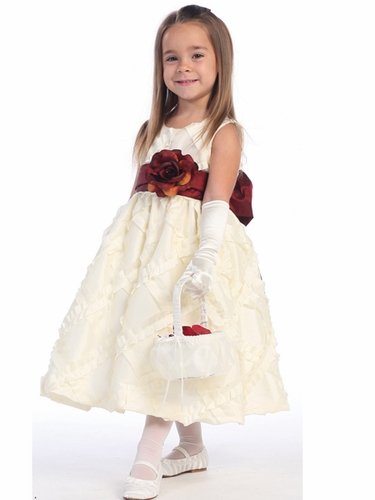 Blossom Ivory Sleeveless Taffeta Ribbon Dress w/ Detachable Sash & Flower
