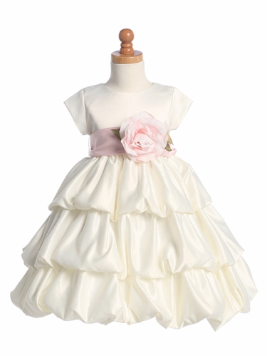 Blossom Ivory Three Layer Satin Bubble Dress w/ Detachable Sash & Flower