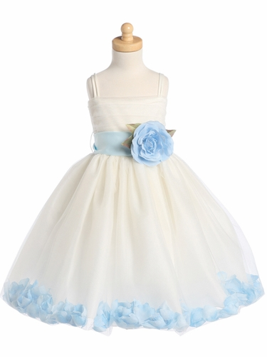 Blossom Ivory Sleeveless Tulle Dress w/ Detachable Sash, Flower, & Petals