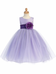 Blossom Lilac Poly Silk Bodice & Tulle Skirt Dress w/ Detachable Flower & Sash
