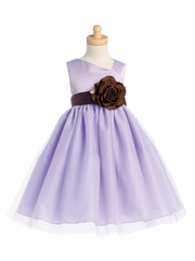 Blossom Lilac Satin Bodice & Tulle Skirt w/ Detachable Sash & Flower