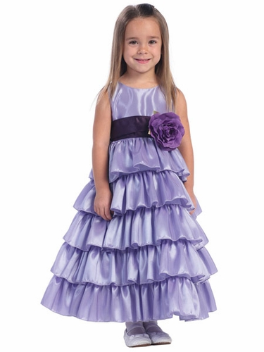 Blossom Lilac Sleeveless Taffeta Bodice Layered Skirt w/ Detachable Sash & Flower