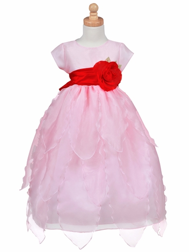 Blossom Pink Organza Dress w/ Petals Skirt