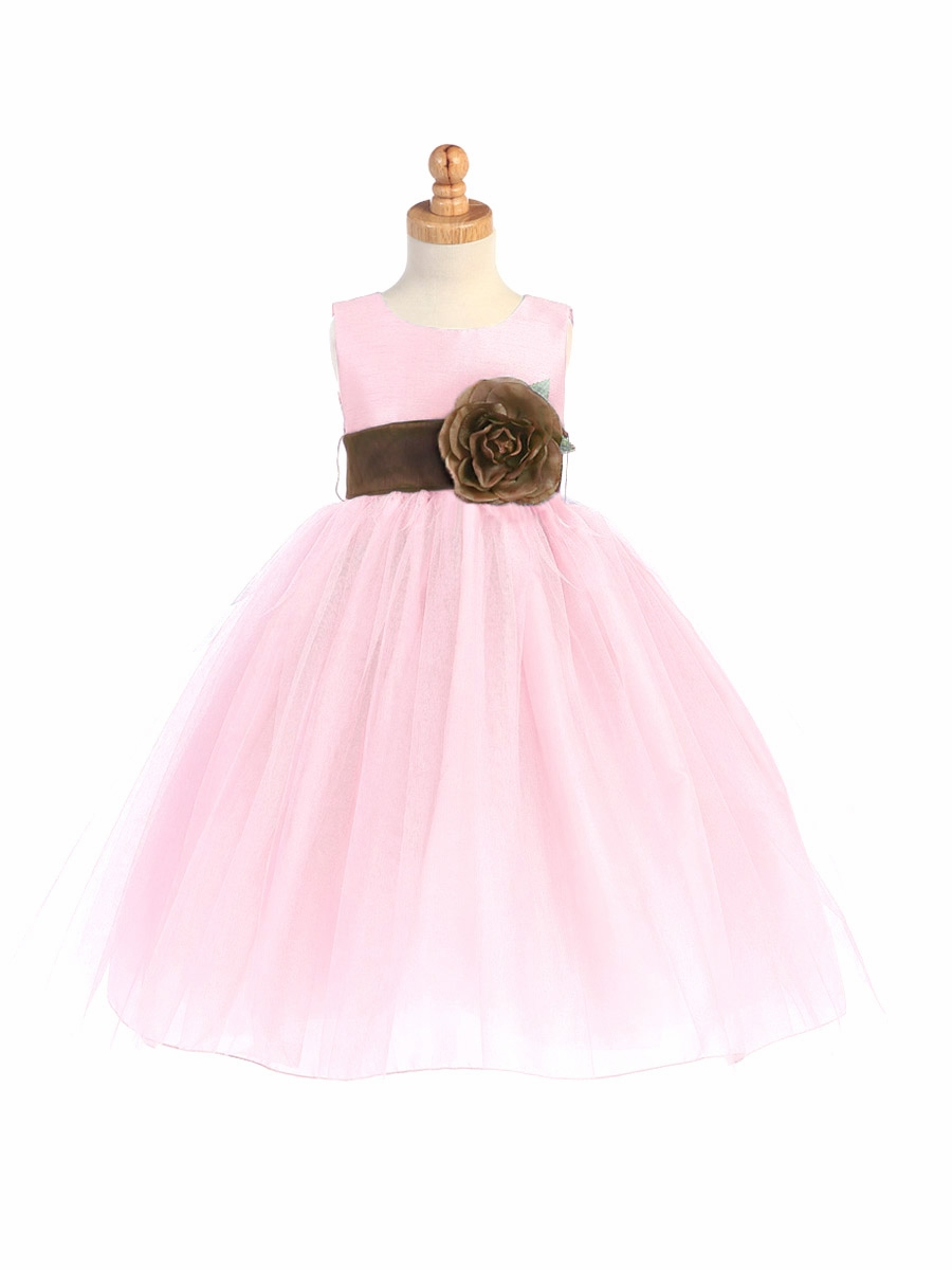 Blossom Pink Poly Silk Bodice Tulle Skirt Dress W Detachable