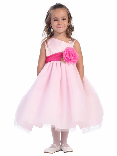 Blossom Pink Sleeveless Satin Bodice and Tulle Skirt w/ Detachable Sash and Flower